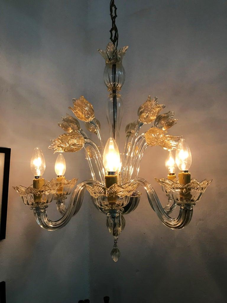 Mid-Century Modern Chandelier in Murano Glass, Attr. Barovier & Toso, circa 1950 For Sale 6