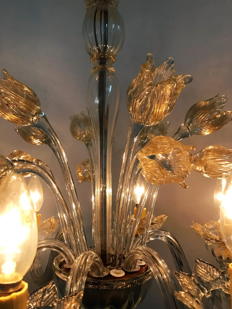 Mid-Century Modern Chandelier in Murano Glass, Attr. Barovier & Toso, circa 1950 For Sale 7