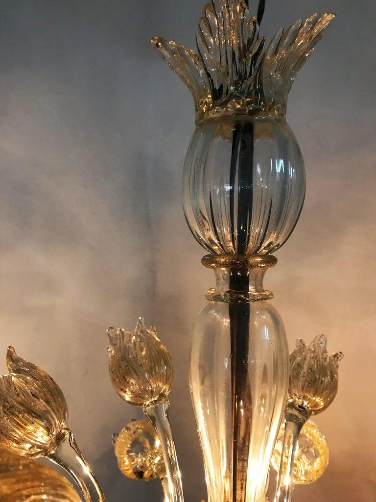Mid-Century Modern Chandelier in Murano Glass, Attr. Barovier & Toso, circa 1950 For Sale 9