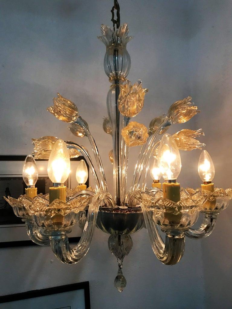Mid-Century Modern Chandelier in Murano Glass, Attr. Barovier & Toso, circa 1950 For Sale 11