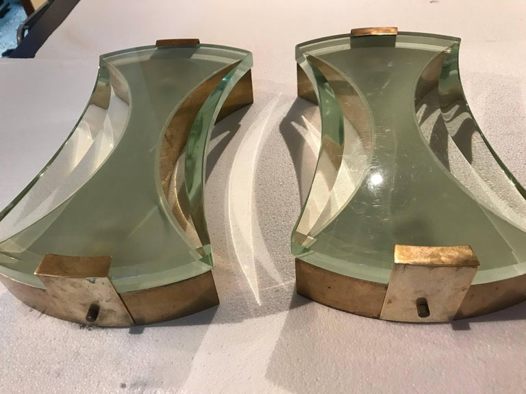 Italian 2 Pairs of Max Ingrand Wall Sconces for Fontana Arte,  For Sale