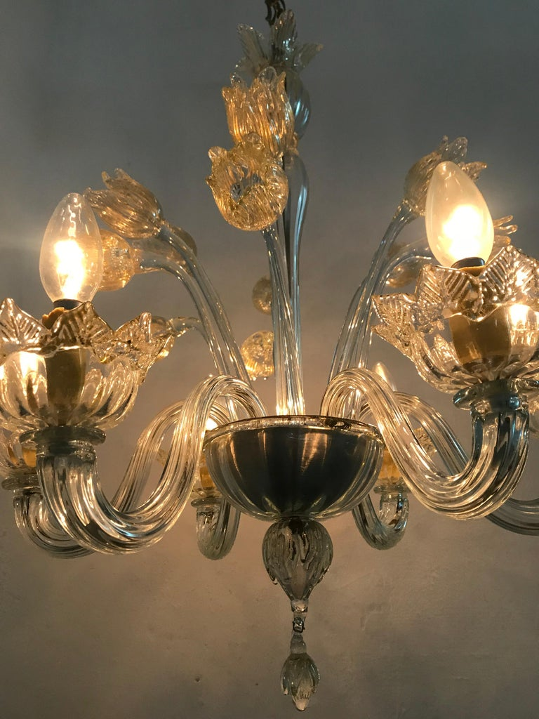 Mid-Century Modern Chandelier in Murano Glass, Attr. Barovier & Toso, circa 1950 For Sale 12