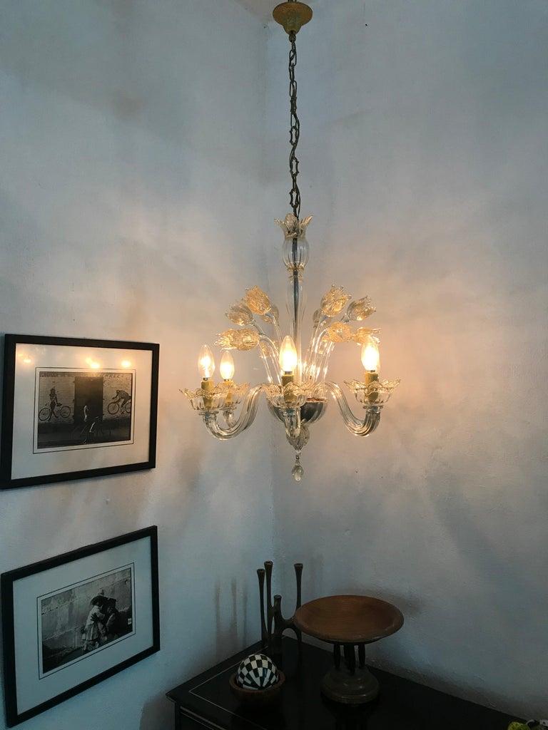 Mid-Century Modern Chandelier in Murano Glass, Attr. Barovier & Toso, circa 1950 For Sale 5