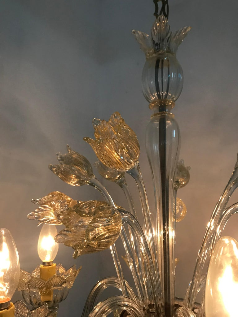 Mid-Century Modern Chandelier in Murano Glass, Attr. Barovier & Toso, circa 1950 For Sale 8