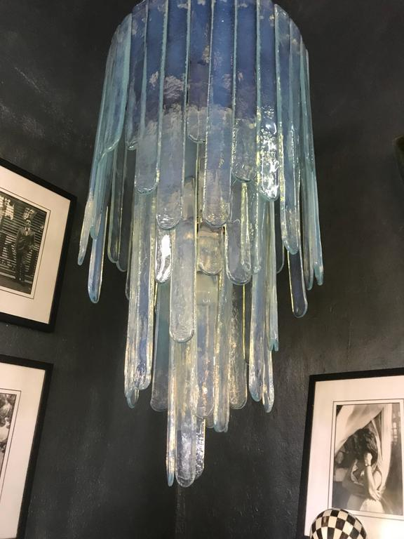 "Large ""Cascade"" Mazzega Chandelier by Carlo Nason in Opalescent Murano Glass 2"