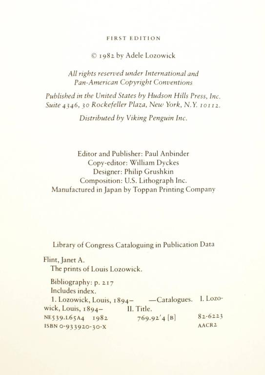 Prints of Louis Lozowick, a Catalogue Raisonne, First Edition For Sale 4