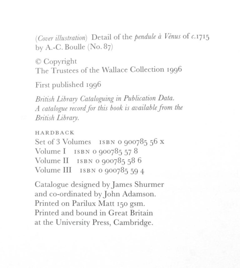 Wallace Collection in Three Volumes, First Editions 10