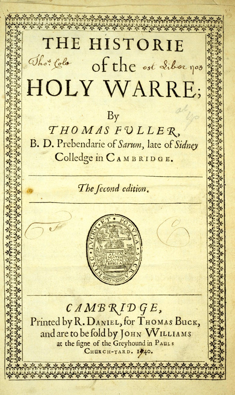 Historie of the Holy Warre by Thomas Fuller, Second Edition, circa 1640 In Good Condition For Sale In Kinderhook, NY