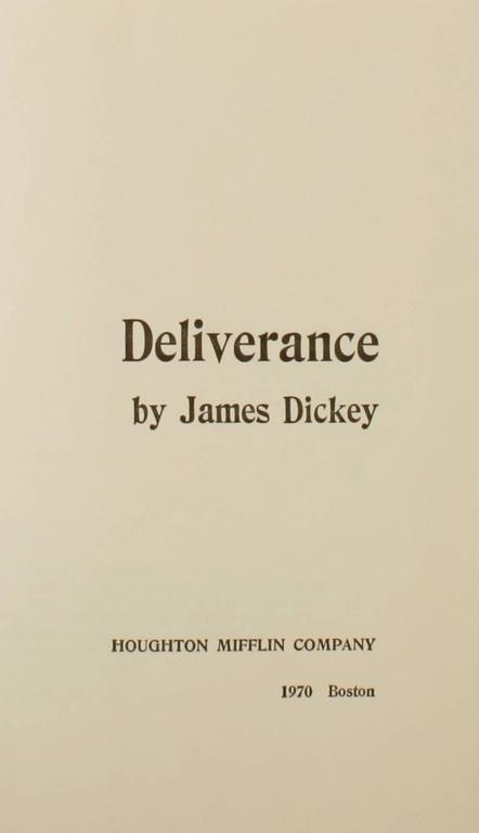 Deliverance by James Dickey, First Edition In Good Condition For Sale In Kinderhook, NY