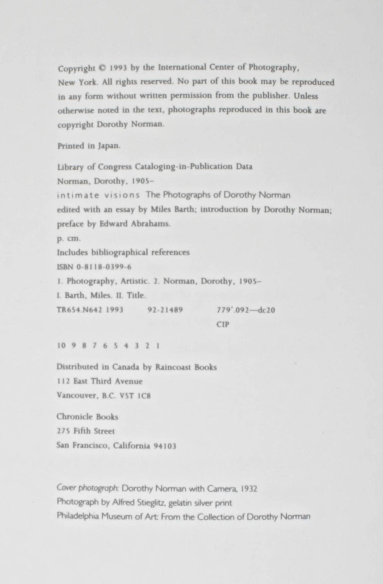 Intimate Visions the Photography of Dorothy Norman, by Miles Barth First Edition For Sale 4