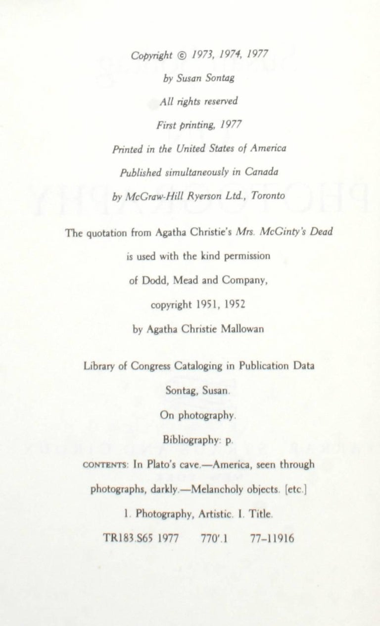Paper On Photography by Susan Sontag, First Edition For Sale
