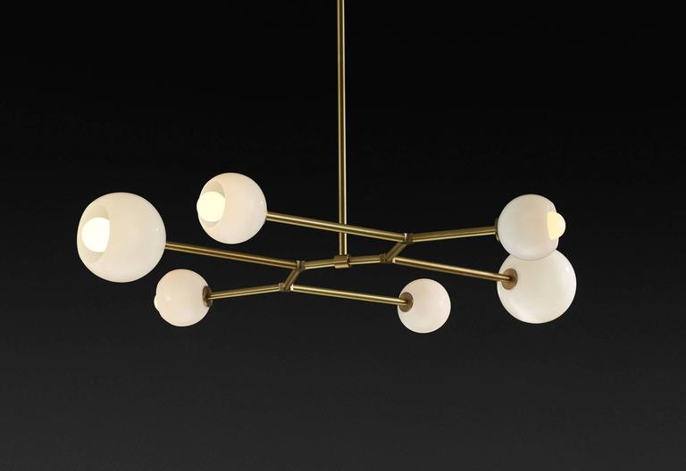 Mode Brass and Blown Glass Made-to-Order Chandelier  2
