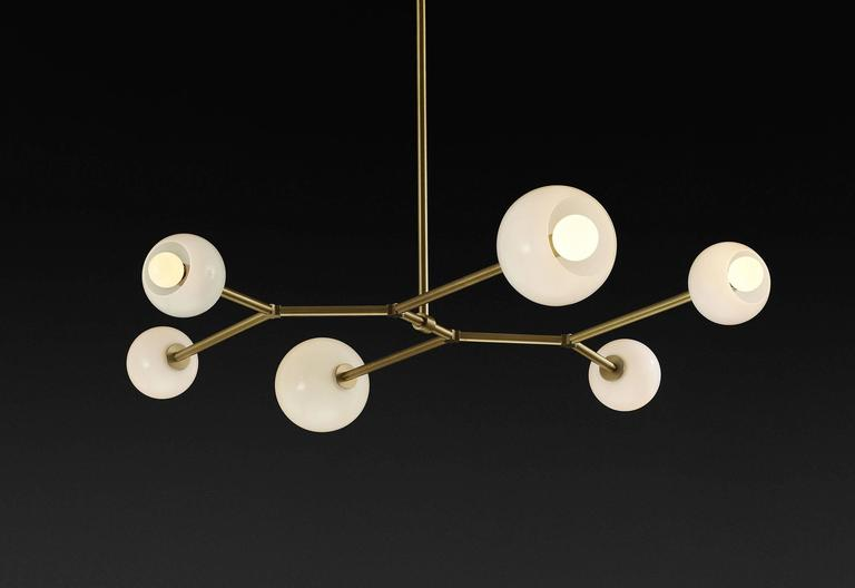Mode Brass and Blown Glass Made-to-Order Chandelier  4