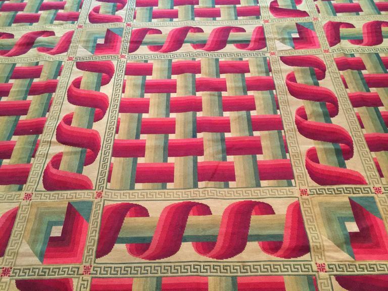 Napoleon III Avant-Garde 19th Century French Needlepoint Carpet For Sale