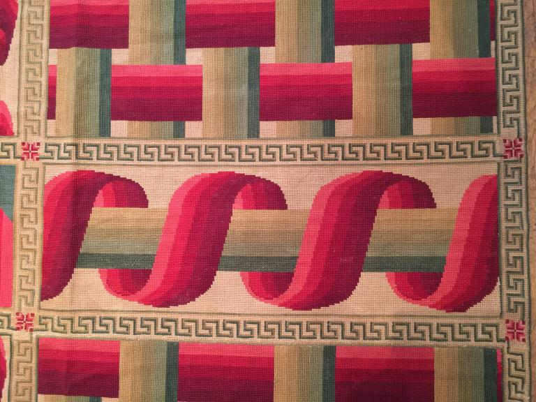 Wool Avant-Garde 19th Century French Needlepoint Carpet For Sale
