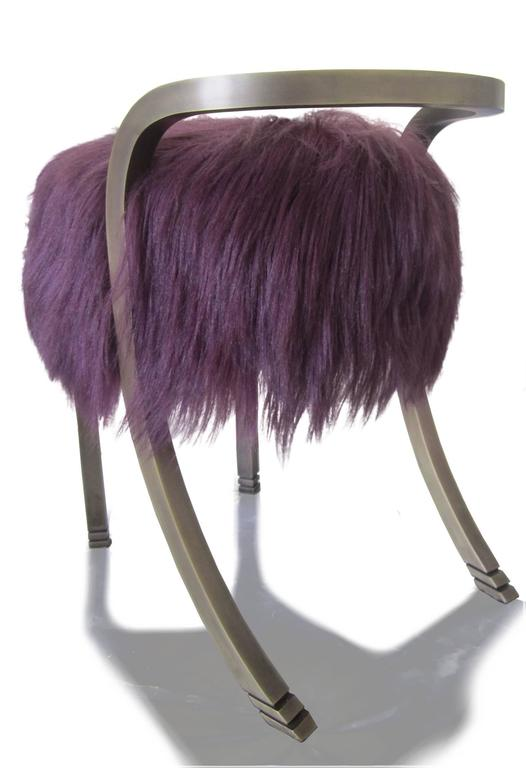 British Anita Stool by Francis Sultana, Bronze and Kidassia Fur For Sale