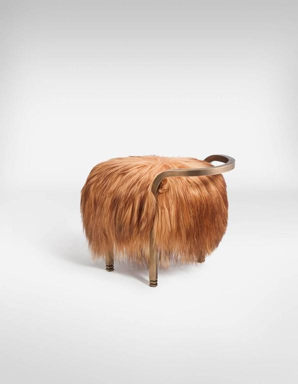 Vegetable Dyed Anita Stool by Francis Sultana, Bronze and Kidassia Fur For Sale