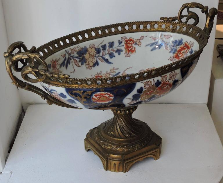 French 19th Century Louis XVI Style Ormolu-Mounted Bayeux Porcelain Centrepiece For Sale