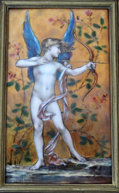 Cupid, A Very Fine Painted Enamel Plaque by Paul Victor Grandhomme, circa 1889 3