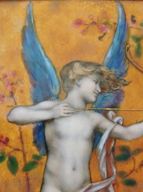 Cupid, A Very Fine Painted Enamel Plaque by Paul Victor Grandhomme, circa 1889 5