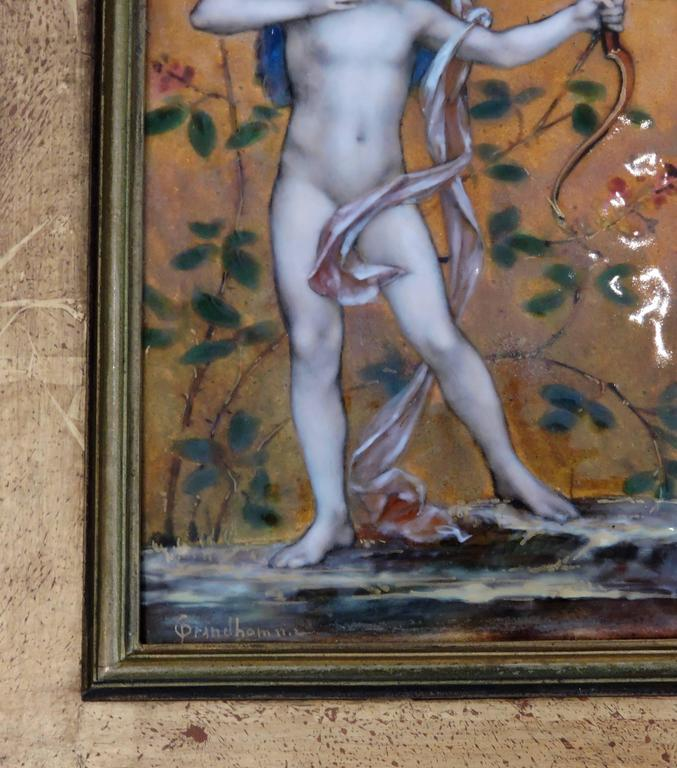 Cupid, A Very Fine Painted Enamel Plaque by Paul Victor Grandhomme, circa 1889 6