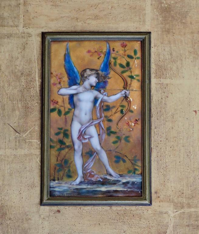 Cupid, A Very Fine Painted Enamel Plaque by Paul Victor Grandhomme, circa 1889 4