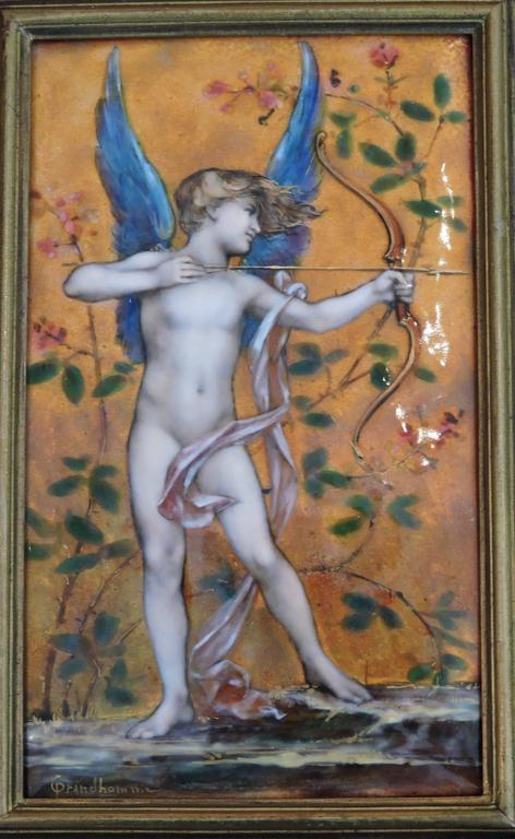 Cupid, A Very Fine Painted Enamel Plaque by Paul Victor Grandhomme, circa 1889 2
