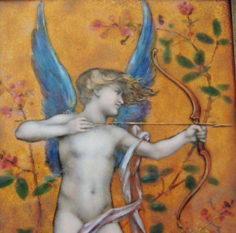 Cupid, A Very Fine Painted Enamel Plaque by Paul Victor Grandhomme, circa 1889 8