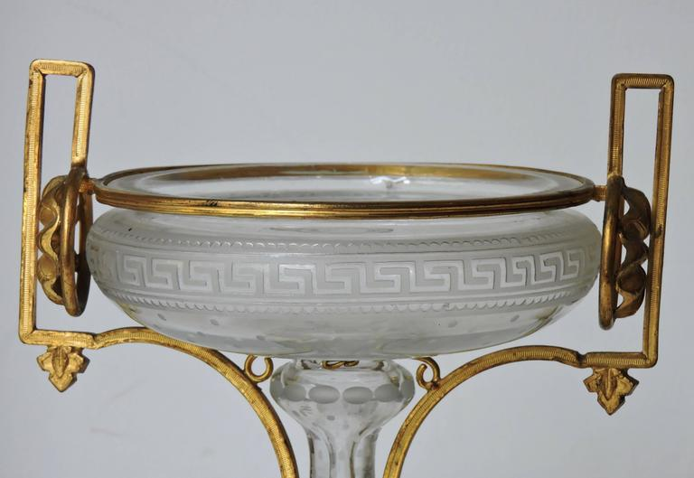 Late 19th Century Neoclassical Engraved and Ormolu-Mounted Crystal Cup, circa 1870 For Sale