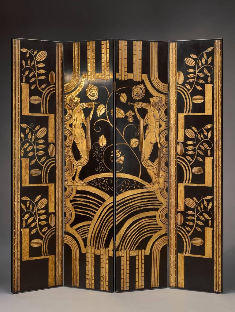 Very Decorative 1925 French Art Deco Lacquered Screen at 1stdibs