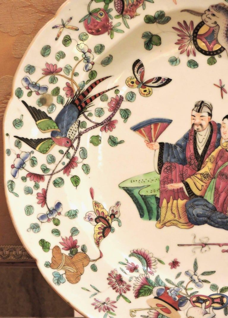 French Pair of 19th Century Polychromed Bayeux Porcelain Pendant Plates For Sale