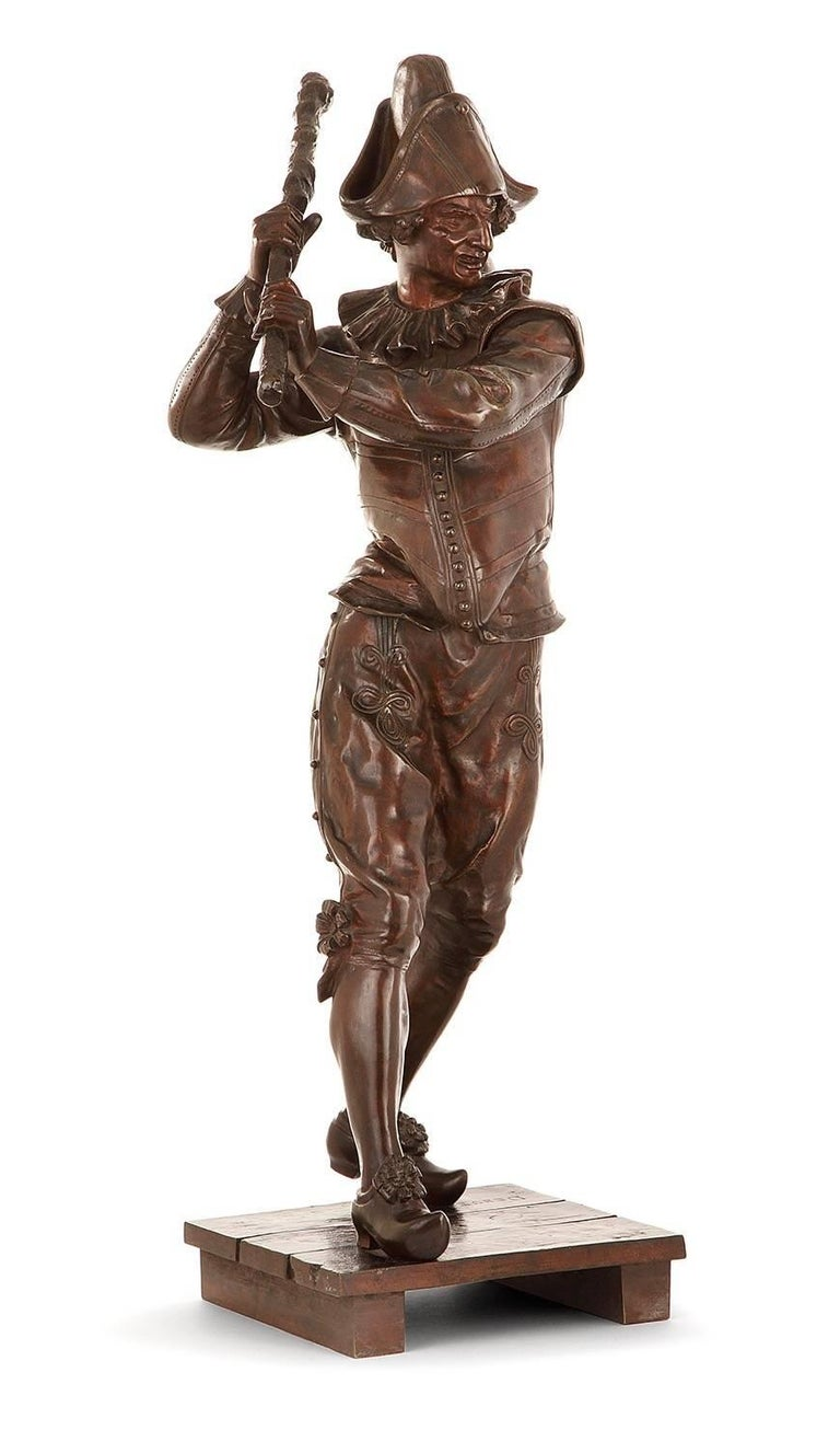 Polichinelle A Brown Patina Sculpture by Marcel Debut (1885-1933) Signed DEBUT  Marcel Debut (Paris, 1865-1933), painter and sculptor, was a pupil at the School of Fine Arts of Thomas and Chapu.  He participated in the Salon of French Artists