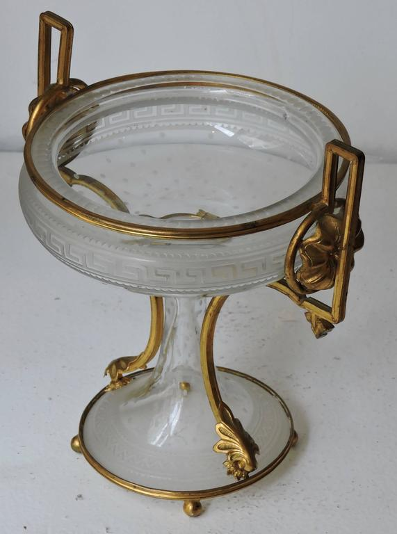 Neoclassical Revival Neoclassical Engraved and Ormolu-Mounted Crystal Cup, circa 1870 For Sale