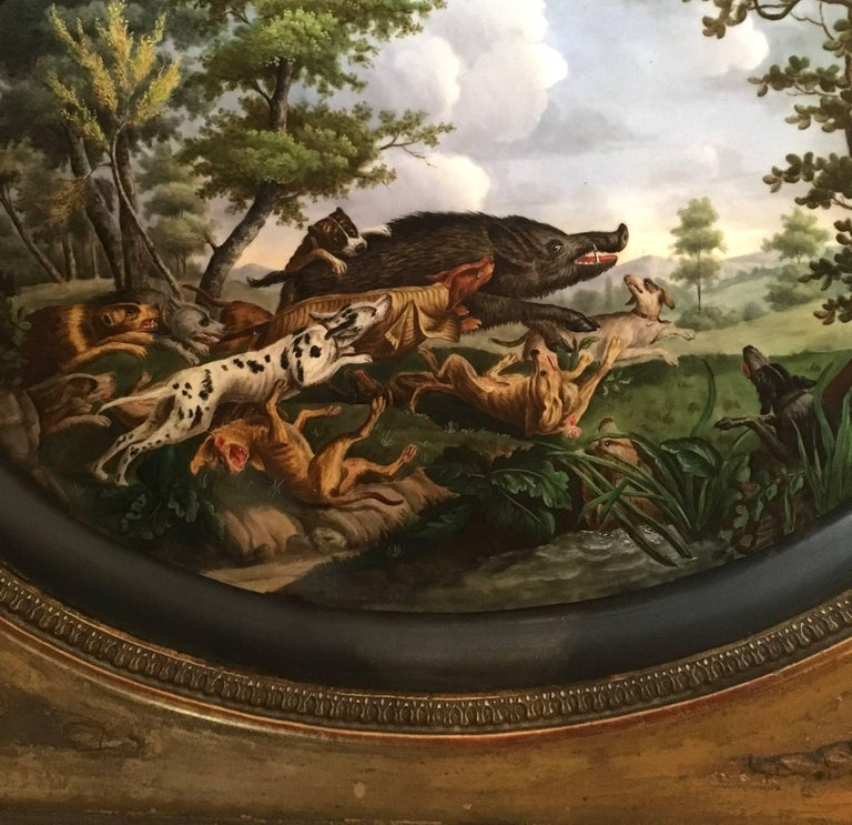 Mid-19th Century Pair of Framed Hand-Painted Paris Porcelain Hunting Scenes, after N. Desportes For Sale