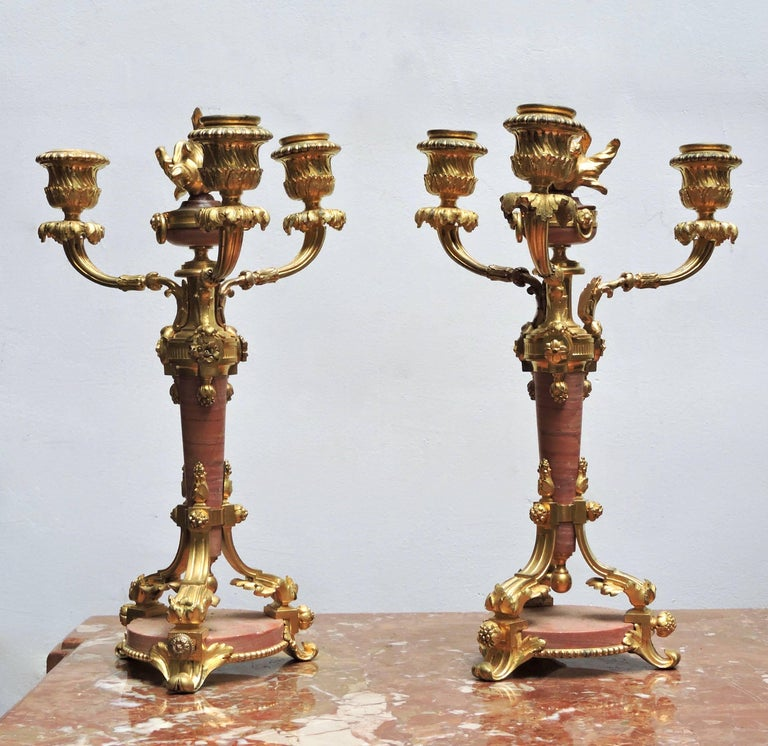 French 1880 Louis XVI Style Ormolu and Marble Three-Piece Clock Garniture For Sale 3