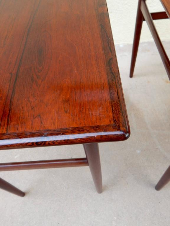 Set of Three Swedish Mid-Century Modern Rosewood Nesting Tables, circa 1950 For Sale 3