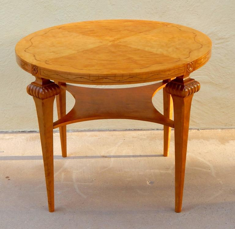 Swedish Art Deco Era Coffee, Side, Center Or Occasional Table Rendered In  Highly Figured