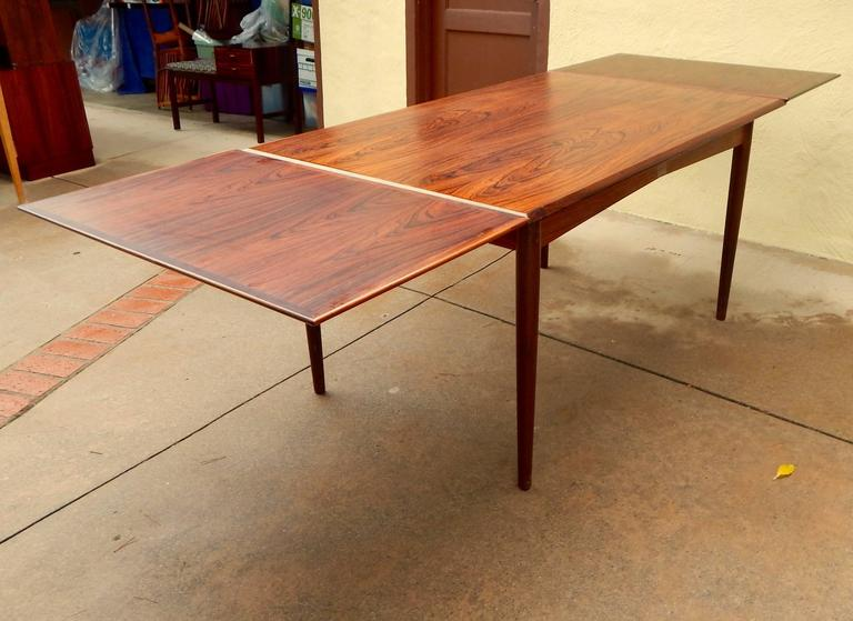 Swedish Extendable Danish Mid-Century Modern Rosewood Dining Table, circa 1960 For Sale