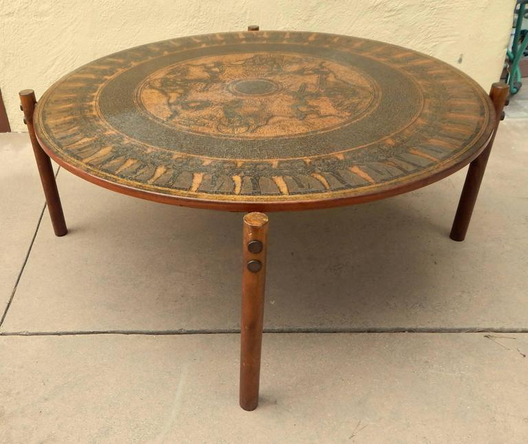 Stamped Copper Egyptian Themed Coffee Table Norway 1960 For Sale At 1stdibs