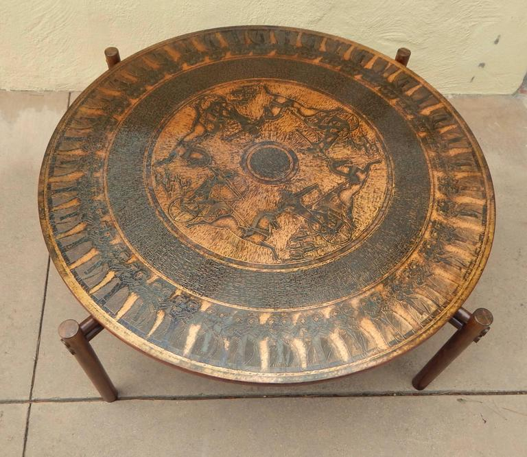 Norwegian Stamped Copper Egyptian Themed Coffee Table, Norway, 1960 For Sale
