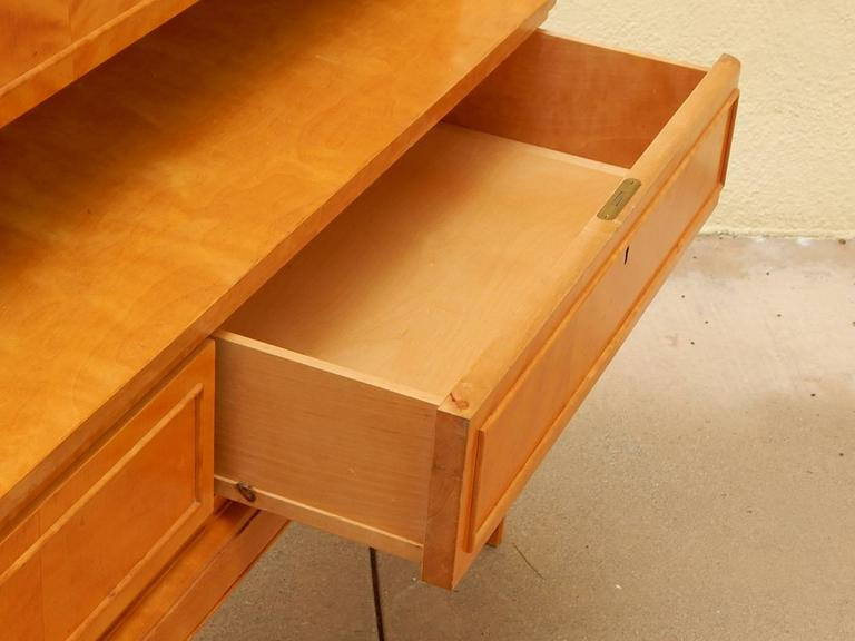 Mid-Century Modern Swedish Art Moderne Dry Bar or Desk in Golden Flame Birch, circa 1940 For Sale