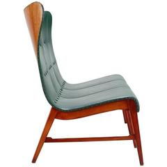 Axel Larsson Mid-Century Modern Bench in Turquoise Leather