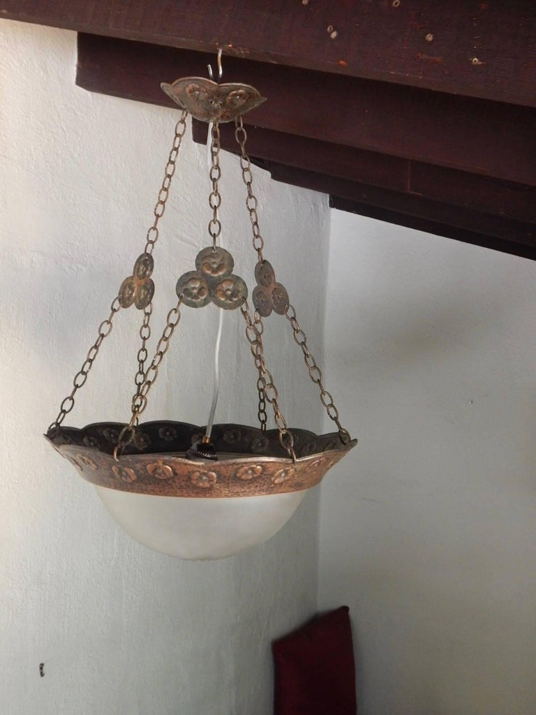 Swedish Arts & Crafts Hammered Copper Hanging Light Fixture, circa 1910 For Sale 2