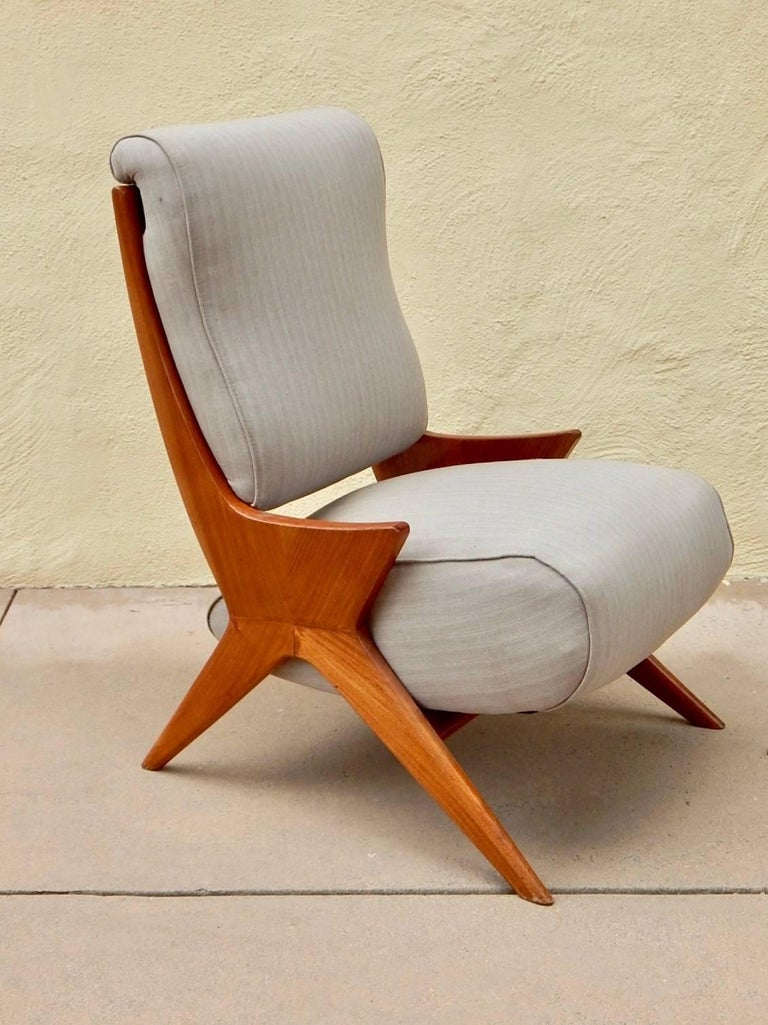 Argentine Americano Funcional mid-century modern slipper chair in petiribi and book matched flame mahogany.  Recovered and restored.  Made in Buenos Aires circa 1950