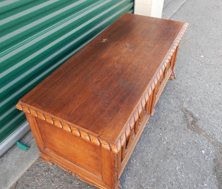 Early 20th Century Swedish Arts & Crafts, Neo Gothic Hand-Carved Chest in Oak, circa 1920 For Sale