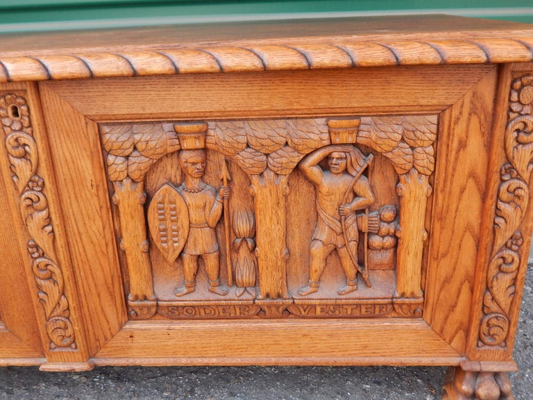 Swedish Arts & Crafts, Neo Gothic Hand-Carved Chest in Oak, circa 1920 For Sale 2
