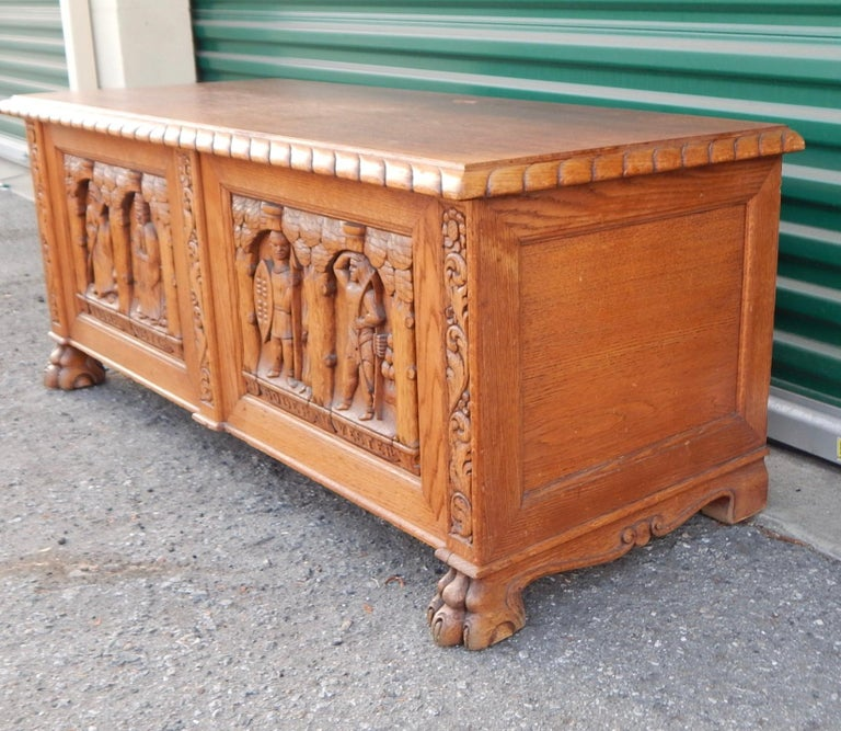 Swedish Arts & Crafts, Neo Gothic Hand-Carved Chest in Oak, circa 1920 For Sale 4