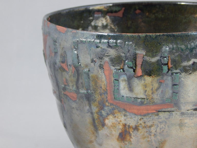 Seelbach wheel thrown earthenware vessel by ceramicist Andrew Wilder. This is a one of a kind object made in the ancient way- by hand in a small artisanal pottery. In this series Wilder explores the application of lichen under glazes to achieve