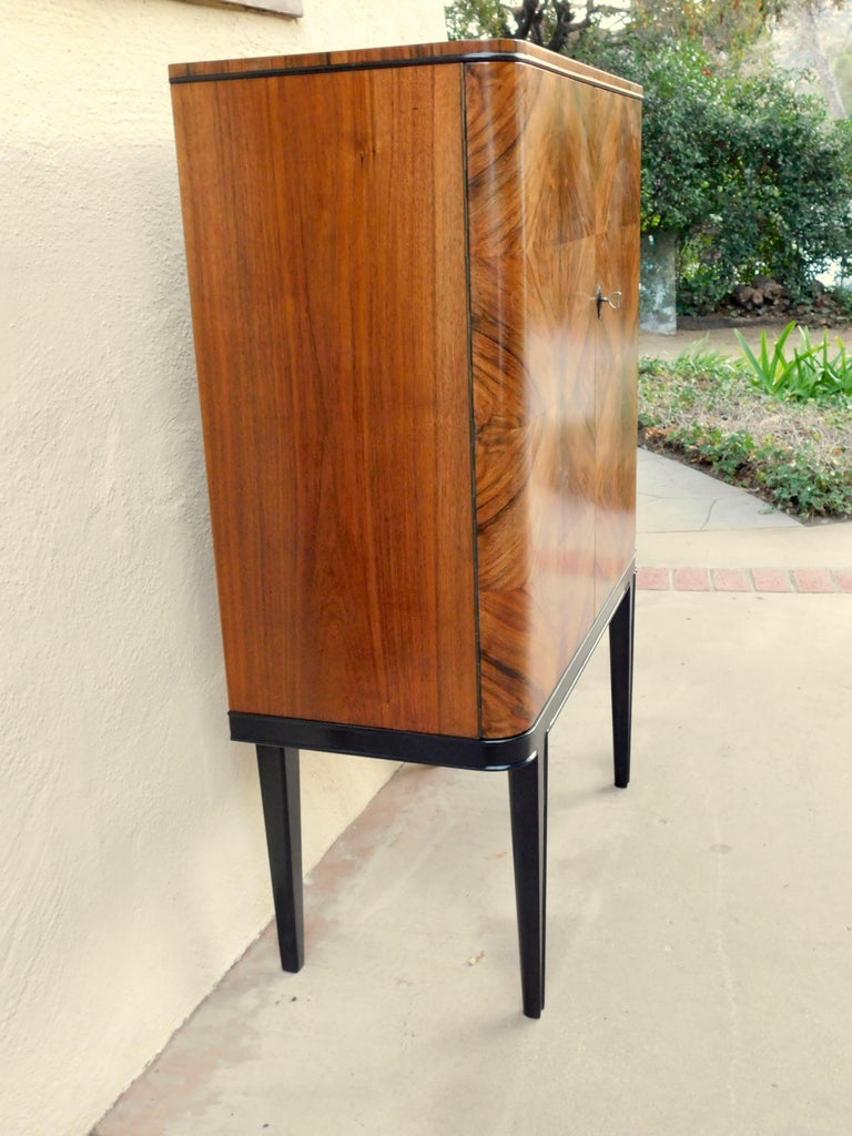 Swedish Art Modern Dry Bar or Sideboard in Book Matched Walnut, circa 1940 For Sale 4