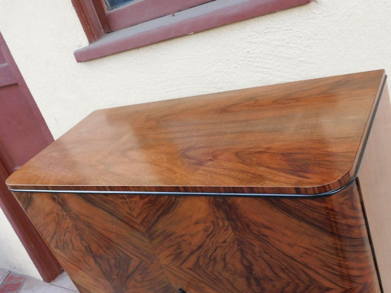 Swedish Art Modern Dry Bar or Sideboard in Book Matched Walnut, circa 1940 For Sale 5